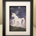 Purple galaxy crocheted unicorn frame