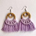 Lavender macrame dangle earrings