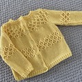 SALE 50% Yellow Cardigan - Size 6-12 months - pure wool - Hand knitted