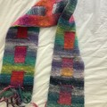 Hand knitted double sided scarf