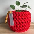 Crochet planter | indoor plant | indoor pot | Pot cover | RED