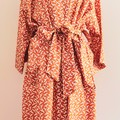 Over sized Kimono Jacket - M size 10 -12 - Burnt orange w. White Cockatoo