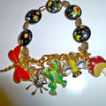 Enamel bracelet with garden theme