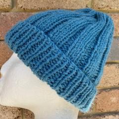 Blue teal merino ladies or mens knitted beanie wool blend pompom