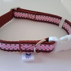 Brown and pink dot adjustable dog collars small / medium