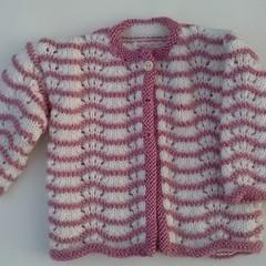 knitted baby girl jacket cardigan dusty pink newborn - 3 mths