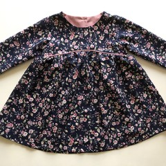 Long Sleeved navy/pink floral dress - 2 years
