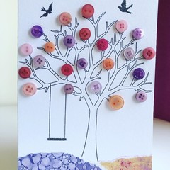 Blossom tree buttons card