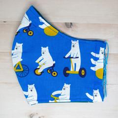 Polar Bear Blue Fabric Mask