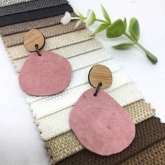 Musk pink suede Leather earrings