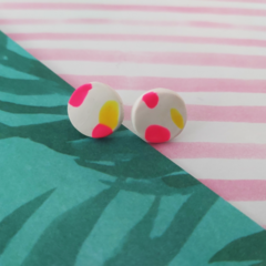 Yellow, Pink & White Ear Studs
