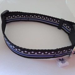 Black and white star with blue stripe adjustable dog collars small / medium