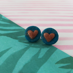 Glittery Heart Ear Buds
