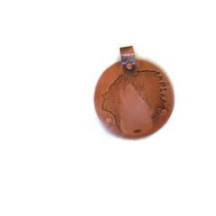 Copper Pendant Indian Wolf Etched