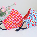 Kid Polka Dots Red Blue Patterned  3 layers Quilting Fabric Face Cover