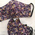 Reusable Fabric Face Mask - Purple Posy(L)