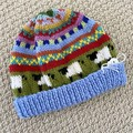 Blue  sheep Beanie - to fit approx size 6-12 months -hand knitted