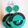 Genuine Leather, Dangle Stud Earrings, Black / Turquoise