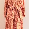 Over sized Kimono Jacket - L size 12 -16 - Burnt orange w. White Cockatoo