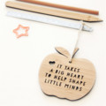 Teacher Thank You Gift, 2 Designs, Bamboo Apple Decoration, Christmas Ornament