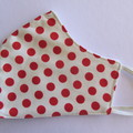 100% Cotton Face Mask - Red Polka Dot