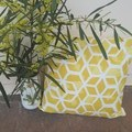 "YELLOW AND WHITE GEOMETRIC OUTDOOR CUSHION COVERS/45cm x45cm/18"" x 18"""