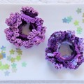 Set of 2 'Purple Puff' Lacy Hair Bands/Scrunchies
