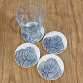 Drink Coaster Set (of 4) Leaf Print Handmade (one-of-a-kind) Gift - Coasters