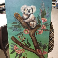 Canvas Painting of Koala in Eucalyptus Tree