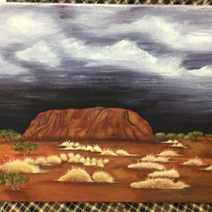 Canvas Painting of Uluru in a Storm