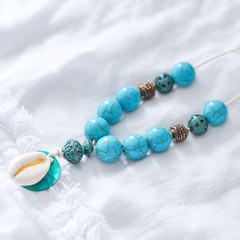 Boho Turquoise Shell Necklace.