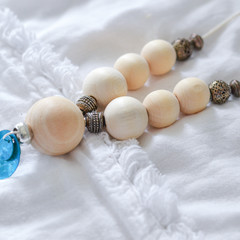 Blue Disc Shell Pendant with wooden beads