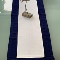 Table Runner-Navy Wool with Jute Trim-150cm x 40cm