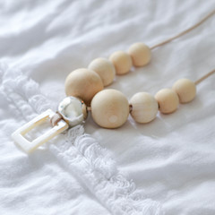 White Shell and Wooden Beaded Necklace