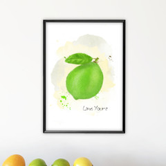 'Lime Yours' Watercolour Digital Painting, Instant Download Printable