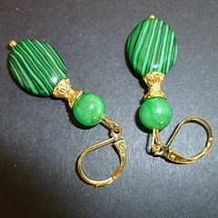 Malachite and Jade earrings