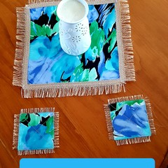 Placemat (1) 40cm and Coasters (4)-Square Tropical Jute