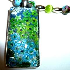 Aqua and lime pendant