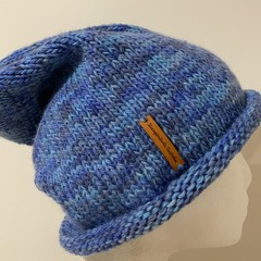 Knitted blue slouchy beanie mens blue slouchy hat wool
