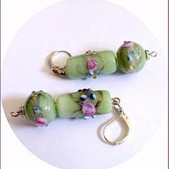 Wedding cake glass earrings