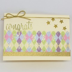 Congratulations Card- Cream and Gold