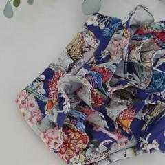 Frilly bloomers in Australiana fabric, sizes newborn to 3 years