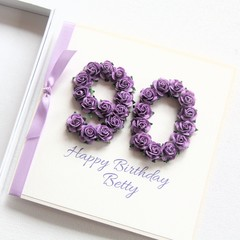Any Age Personalised card birthday gift boxed mauve 18 21 30 40 50 60 70 80 90