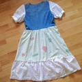 Maybelle Dress - Upcycled Denim Bodice with Skirt, Lace and Floral Broderie
