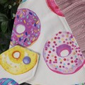 Donuts Button Fabric Hand Towel - Coloured Print