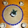 Placemat (1) 40cm and Coasters (4) - Blue Pom Pom