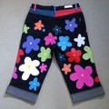 "Yasmin Capris - Colourful Floral Painted 3/4 Jeans, 28"""
