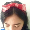 Cherry Pie Headband - Remnant Red and Gingham Scrap Hair Accessories