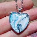 Blue Heart pendant, original art painting