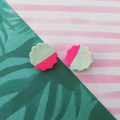 Flowery Pastel Green & Pink - Big Ear Studs